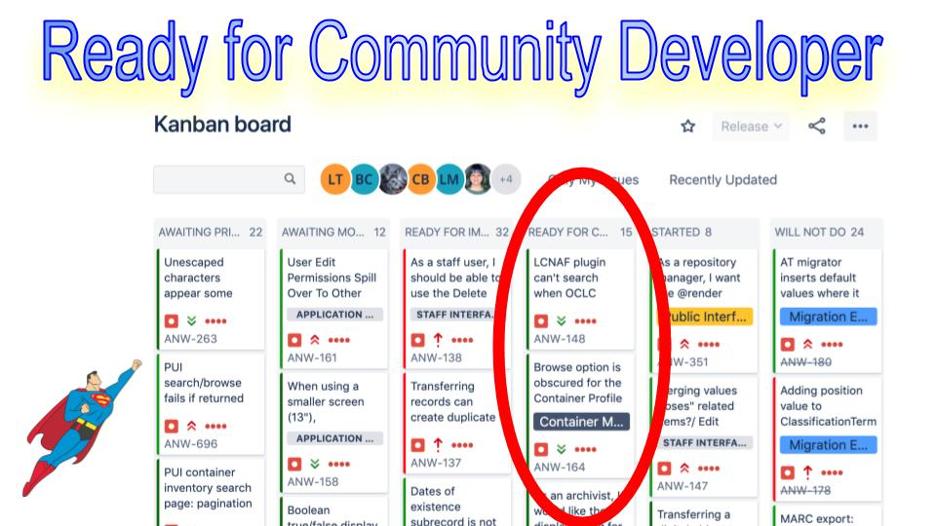 Image of the ready for community developer kanban board