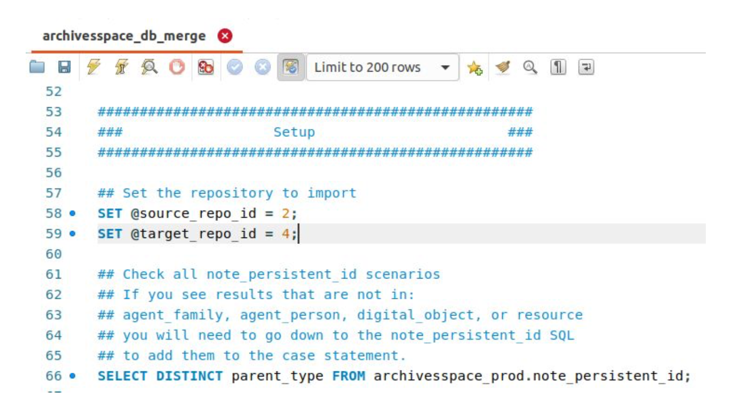 a screenshot of the SQL script written to perform the data migration.